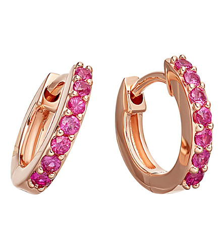 ASTLEY CLARKE Mini Halo 14ct rose-gold pink sapphire hoop earrings (Rose+gold