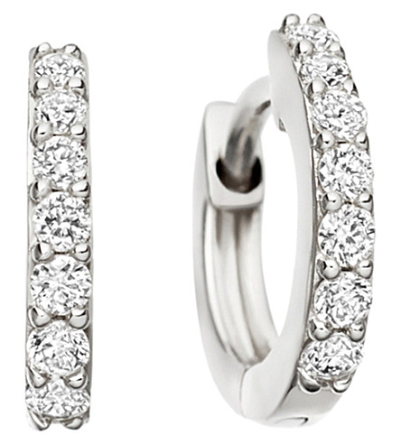 ASTLEY CLARKE Mini Halo 14ct white-gold diamond hoop earrings (White+gold