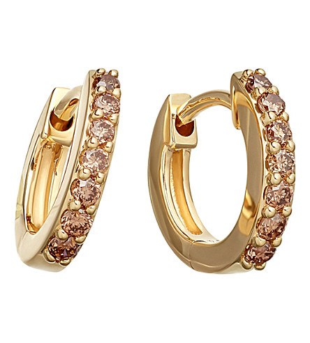 ASTLEY CLARKE Mini Halo 14ct yellow-gold cognac diamond hoop earrings (Yellow+gold