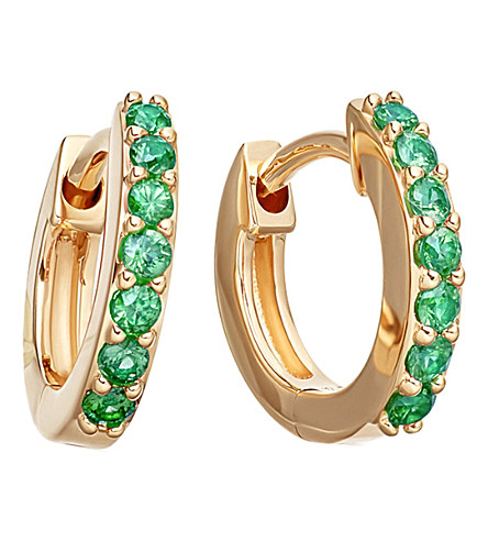ASTLEY CLARKE Mini Halo 14ct yellow gold and emerald hoop earrings (Yellow+gold