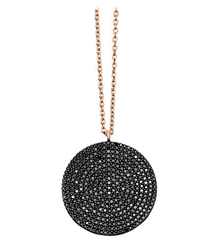 ASTLEY CLARKE Large Icon 14ct rose gold and black diamond pendant