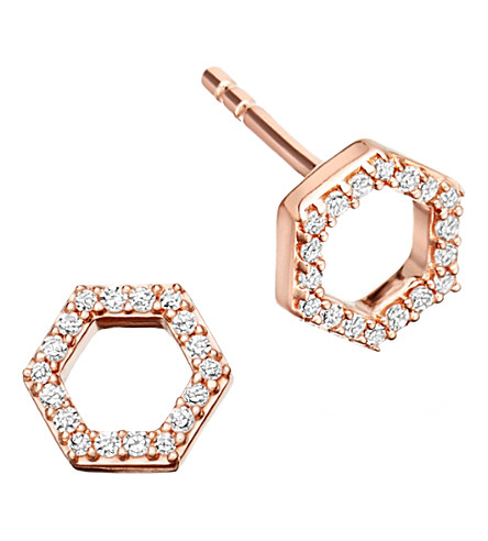 ASTLEY CLARKE Honeycomb 14ct rose gold and diamond stud earrings