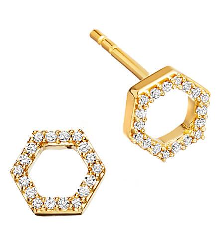 ASTLEY CLARKE Honeycomb 14ct yellow gold and diamond stud earrings