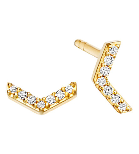 ASTLEY CLARKE Varro Honeycomb 14ct yellow gold and diamond stud earrings