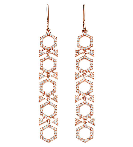 ASTLEY CLARKE Large Varro Honeycomb 14ct rose gold and diamond drop earrings