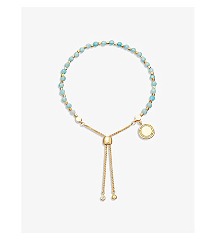 ASTLEY CLARKE Duck egg 18ct yellow-gold vermeil, jade and sapphire kula bracelet