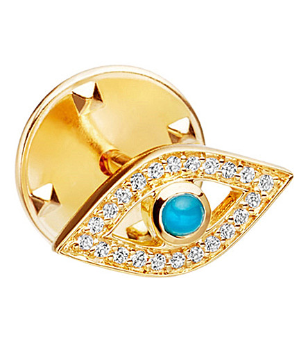 ASTLEY CLARKE Evil Eye Biography 18ct yellow gold-plated vermeil, sapphire and turquoise pin