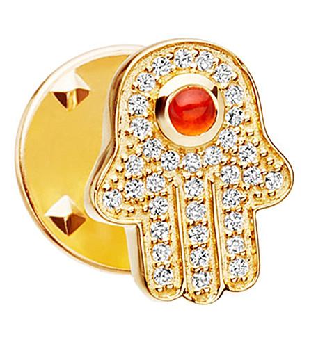 ASTLEY CLARKE Hamsa Biography 18ct yellow gold-plated vermeil, sapphire and carnelian pin