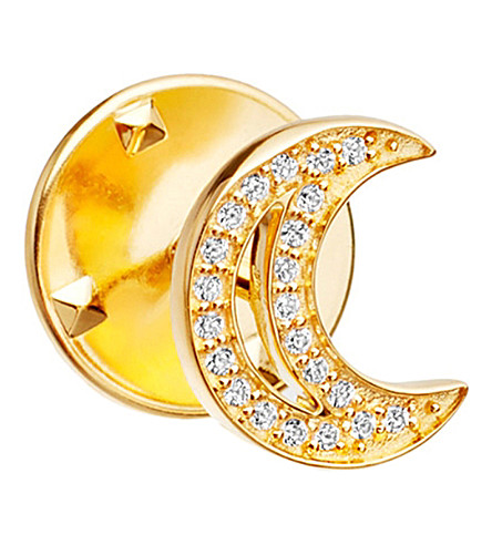 ASTLEY CLARKE Moon Biography 18ct yellow gold-plated vermeil and sapphire pin