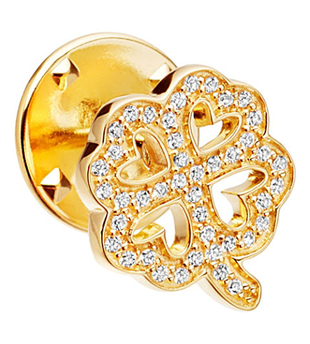 ASTLEY CLARKE Four Leaf Clover Biography 18ct yellow gold-plated vermeil and sapphire pin