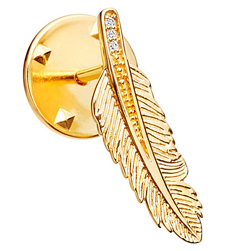 ASTLEY CLARKE Feather Biography 18ct yellow gold-plated vermeil and sapphire pin