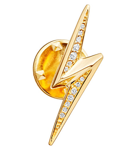 ASTLEY CLARKE Lightning bolt Biography 18ct yellow gold-plated vermeil and sapphire pin