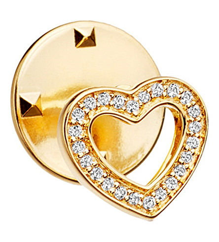 ASTLEY CLARKE Heart Biography 18ct yellow gold-plated vermeil and sapphire pin