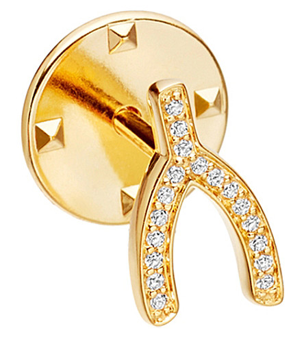 ASTLEY CLARKE Wishbone Biography 18ct yellow gold-plated vermeil and sapphire pin