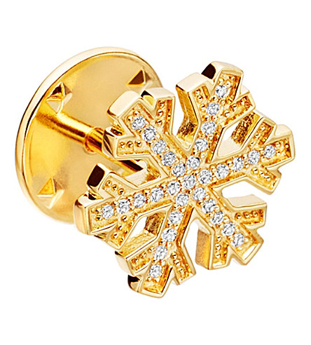 ASTLEY CLARKE Snowflake Biography 18ct yellow gold-plated vermeil and sapphire pin