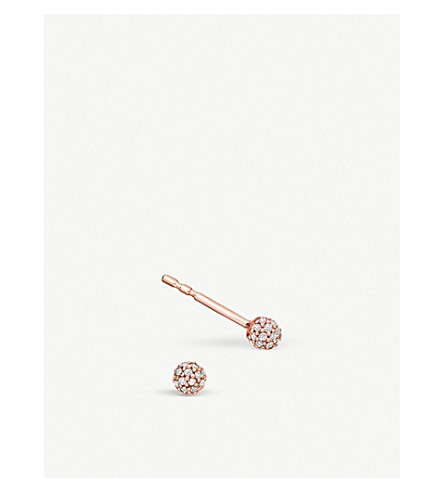 ASTLEY CLARKE Pavé Ball Halo 14ct rose gold and diamond stud earrings (Rose+gold