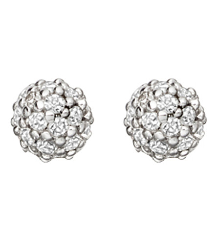 ASTLEY CLARKE Pavé Ball Halo stud 14ct white gold and diamond earrings (White+gold