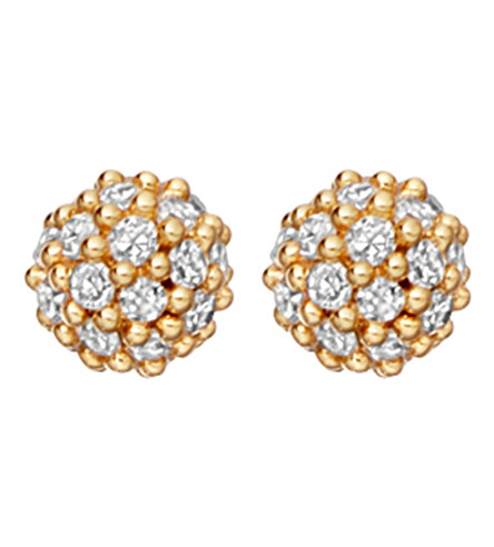 ASTLEY CLARKE Pavé Ball Halo 14ct yellow gold and diamond stud earrings (Yellow+gold