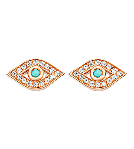 ASTLEY CLARKE Mini Evil Eye Biography stud earrings (Rose+vermeil