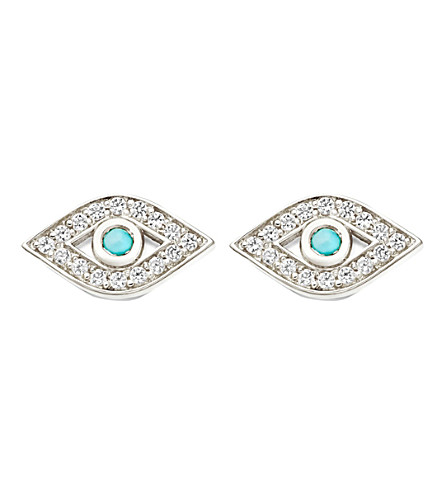 ASTLEY CLARKE Mini Evil Eye Biography stud earrings (Sterling+silver