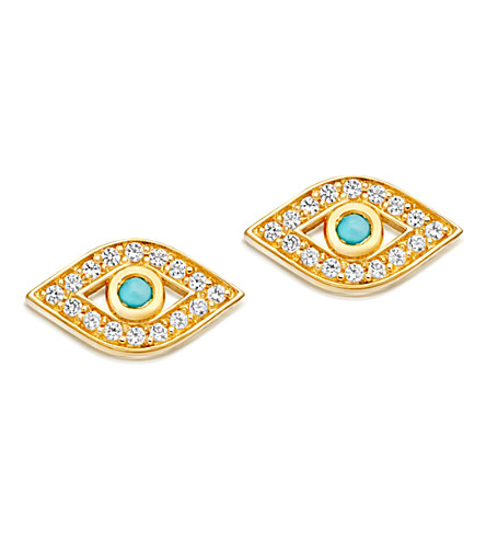 ASTLEY CLARKE Mini Evil Eye 18ct yellow gold-plated earrings