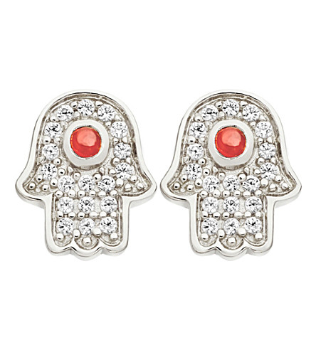 ASTLEY CLARKE Mini Hamsa stud earrings (Sterling+silver