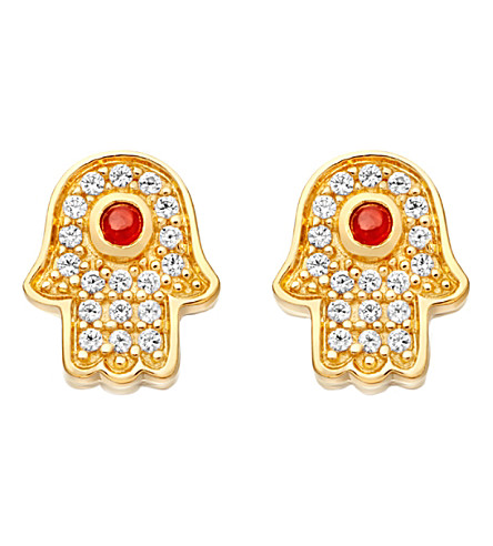 ASTLEY CLARKE Mini Hamsa 18ct yellow gold-plated earrings