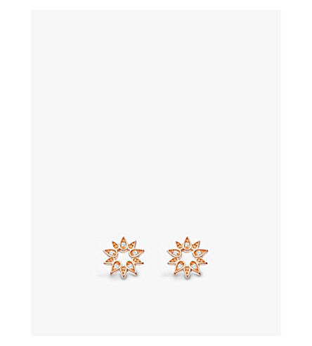 ASTLEY CLARKE Mini Sun Biography sapphire stud earrings (Rose+vermeil