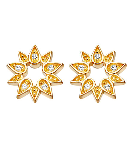 ASTLEY CLARKE Mini Sun 18ct yellow gold-plated stud earrings