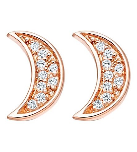 ASTLEY CLARKE Mini Moon Biography stud earrings (Rose+vermeil