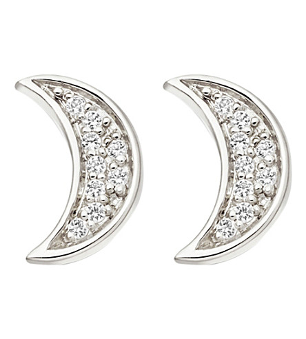 ASTLEY CLARKE Mini Moon stud earrings (Sterling+silver