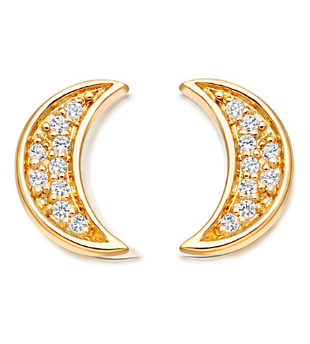 ASTLEY CLARKE Mini Moon 18ct yellow gold-plated stud earrings