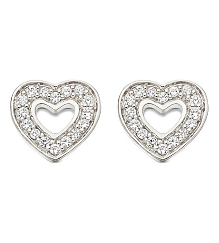 ASTLEY CLARKE Mini Heart sterling silver and white sapphire stud earrings (Sterling+silver