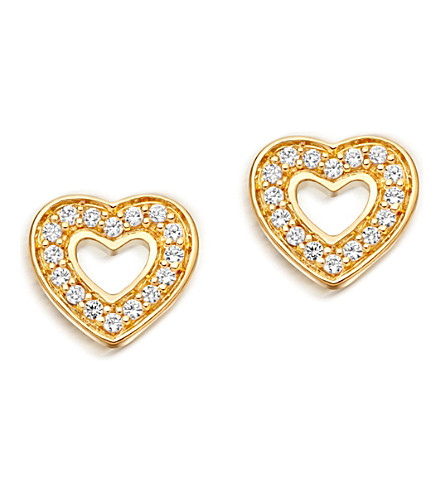ASTLEY CLARKE Mini heart 18ct yellow gold-plated stud earrings