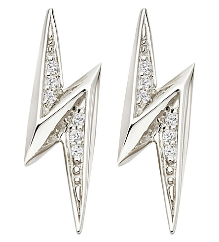 ASTLEY CLARKE Lightning Bolt sterling silver and white sapphire stud earrings (Sterling+silver