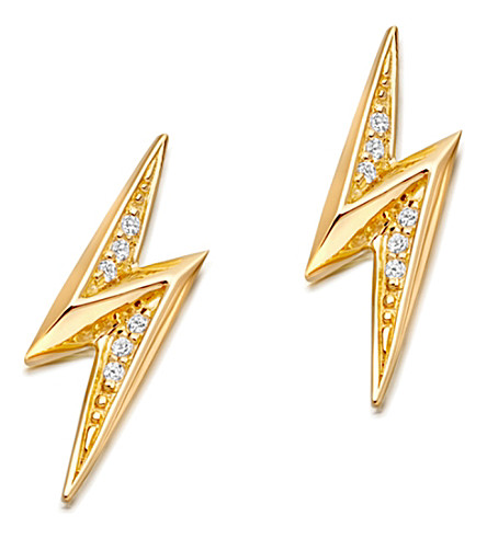 ASTLEY CLARKE Mini lightning bolt 18ct yellow gold-plated stud earrings