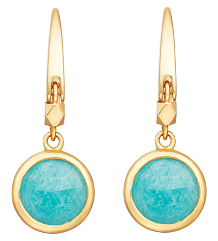 ASTLEY CLARKE Stilla 18ct gold-plated amazonite earrings (Yellow+gold