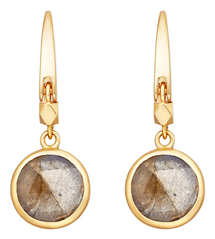 ASTLEY CLARKE Stilla 18ct gold-plated labradorite earrings (Yellow+gold