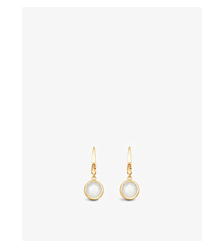 ASTLEY CLARKE Stilla 18ct gold-plated moonstone earrings (Yellow+gold