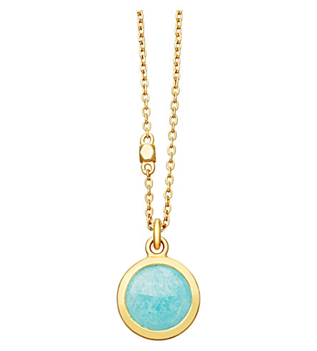 ASTLEY CLARKE Stilla 18ct gold-plated amazonite pendant necklace (Yellow+gold