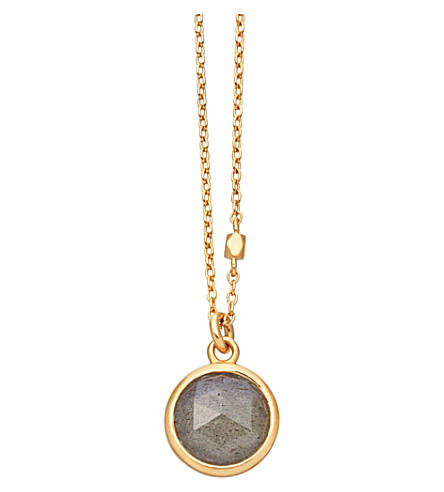 ASTLEY CLARKE Stilla 18ct gold-plated labradorite pendant necklace (Yellow+gold