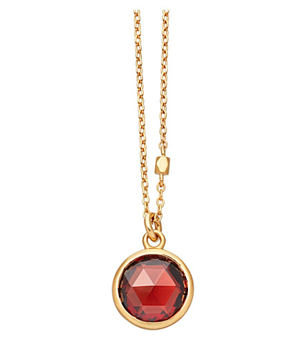 ASTLEY CLARKE Stilla 18ct gold-plated garnet pendant necklace (Yellow+gold