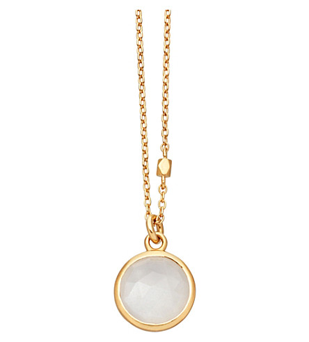 ASTLEY CLARKE Stilla 18ct gold-plated moonstone pendant necklace (Yellow+gold
