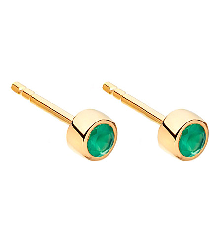 ASTLEY CLARKE Mini Stilla 18ct yellow gold-plated and green agate stud earrings (Yellow+vermeil