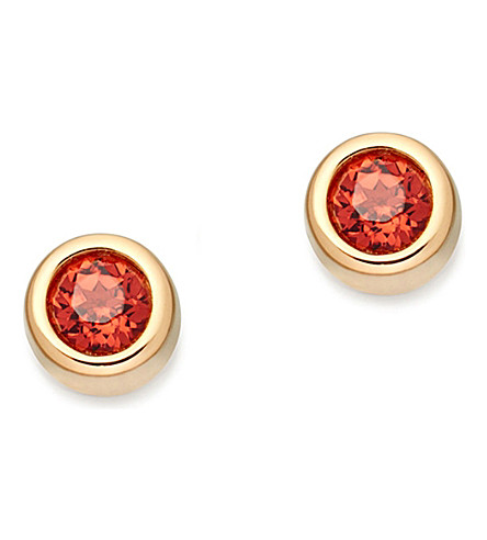 ASTLEY CLARKE Mini Stilla 18ct yellow gold-plated and red garnet stud earrings (Yellow+vermeil