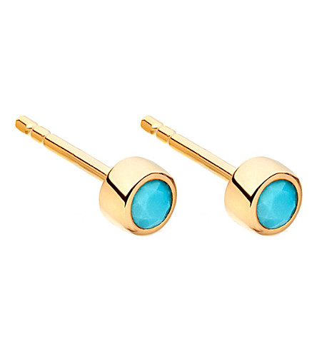 ASTLEY CLARKE Mini Stilla 18ct yellow gold-plated and turquoise stud earrings (Yellow+vermeil