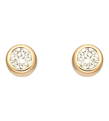 ASTLEY CLARKE Mini Stilla 18ct yellow gold-plated and moonstone stud earrings (Yellow+vermeil