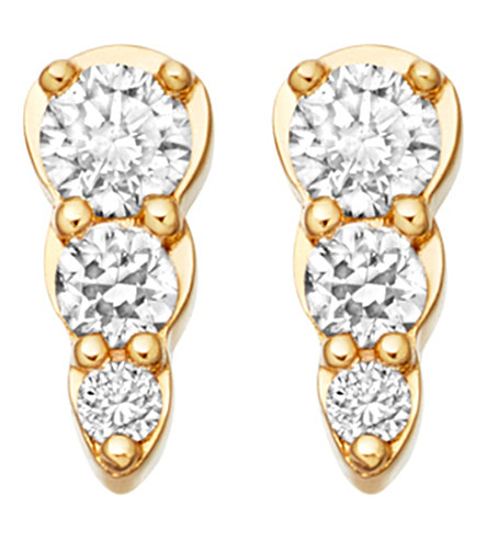 ASTLEY CLARKE Mini Interstellar 14ct gold and diamond stud earrings (Yellow+gold