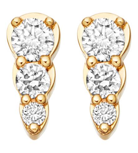 ASTLEY CLARKE Mini Interstellar 14ct gold and diamond stud earrings (Yellow gold