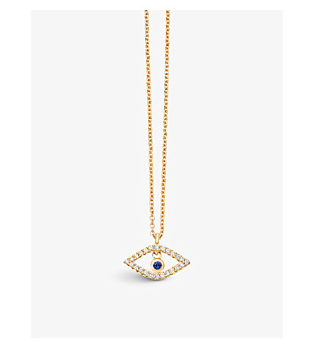 ASTLEY CLARKE Evil Eye 14ct yellow gold, sapphire and diamond pendant (Yellow+gold